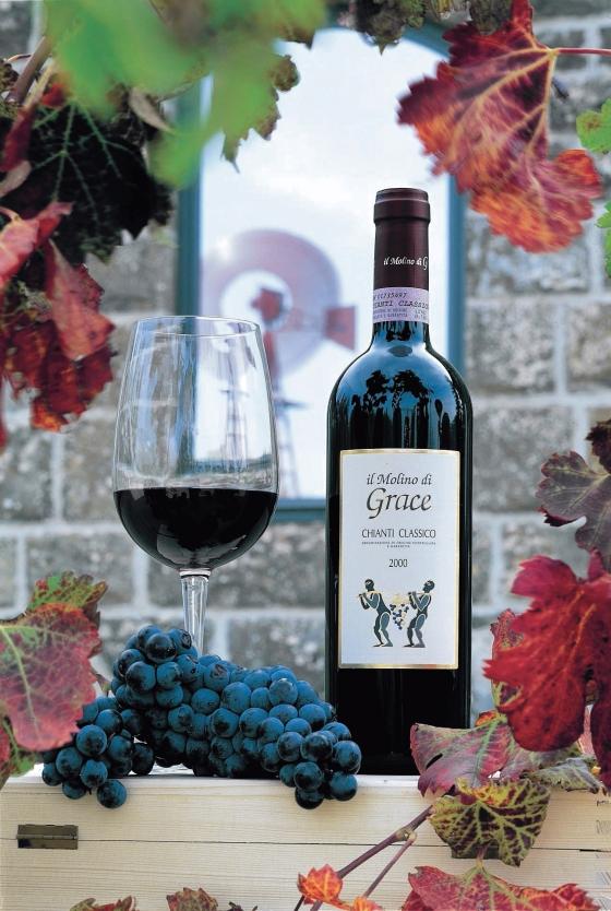 Il Molino de Grace wine bottle at winery