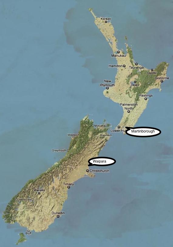 NZ map Waipara and Martinborough