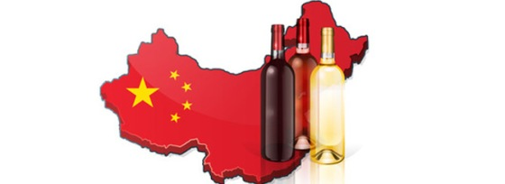 wine in China - map and bottles