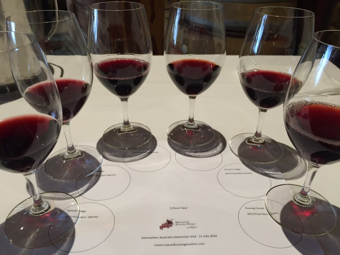 Macedon Ranges red wine flight