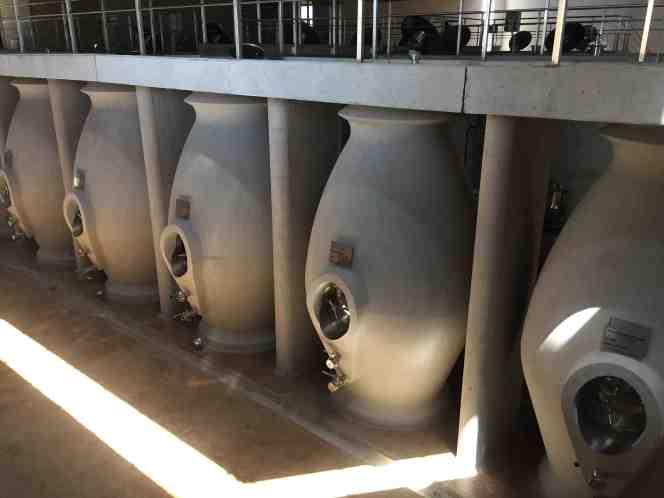 Concrete amphorae at Familia Zuccardi's Piedra Infinita winery.